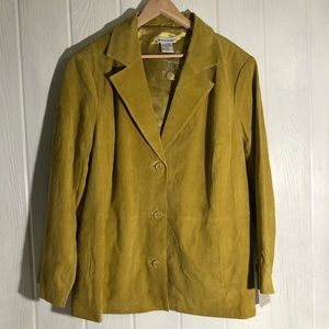 Suede Jessica London Pea Green Leather Coat 24 NWT